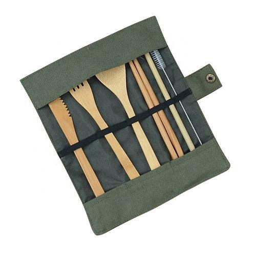 Set Pique-Nique avec paille en Bambou