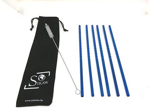 6 pailles en inox 'Spiral' - Droite - Bleue