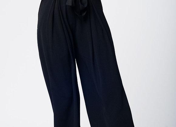 Black Wide Pant With Tweezers Belt