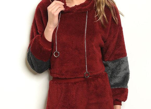 Burgandy Gray Sweater & Short Set