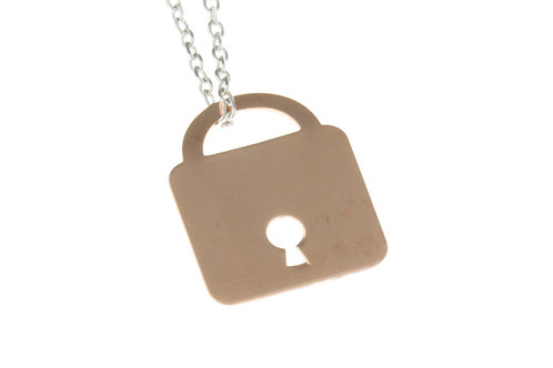 Pink Gold Padlock Necklace