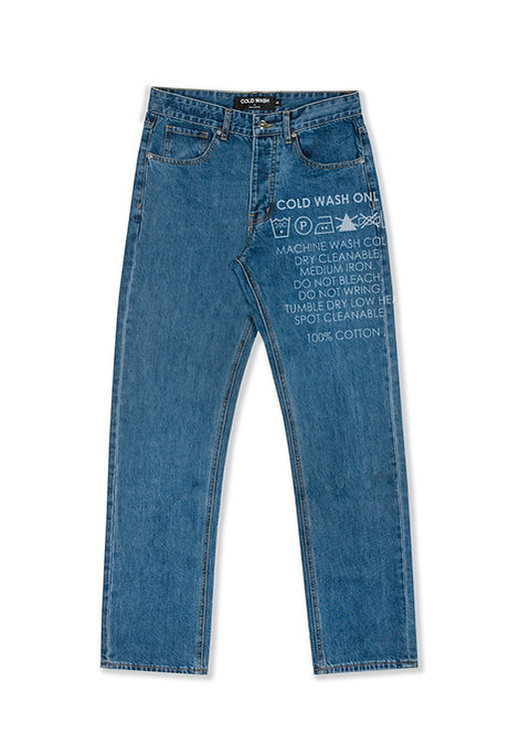 'Carelabel' Lasered Jeans - Dark Blue