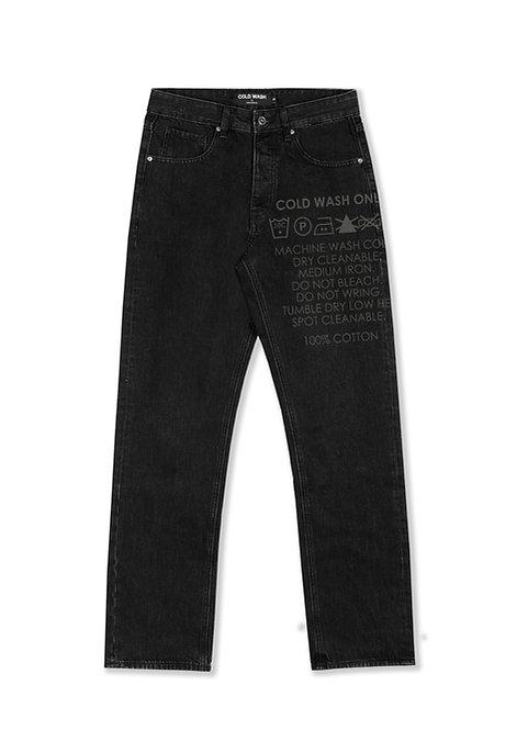'Carelabel' Lasered Jeans - Rinsed Black