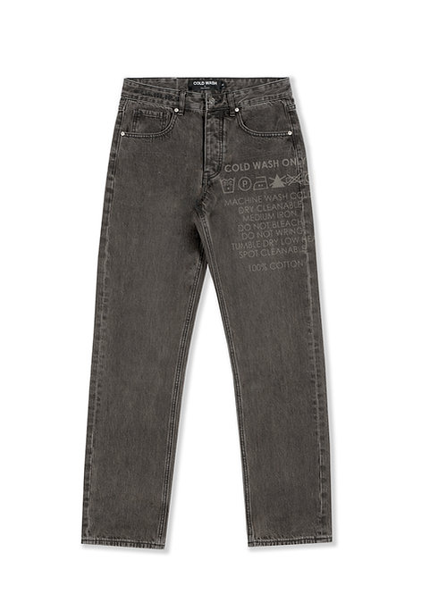 'Carelabel' Lasered Jeans - Grey