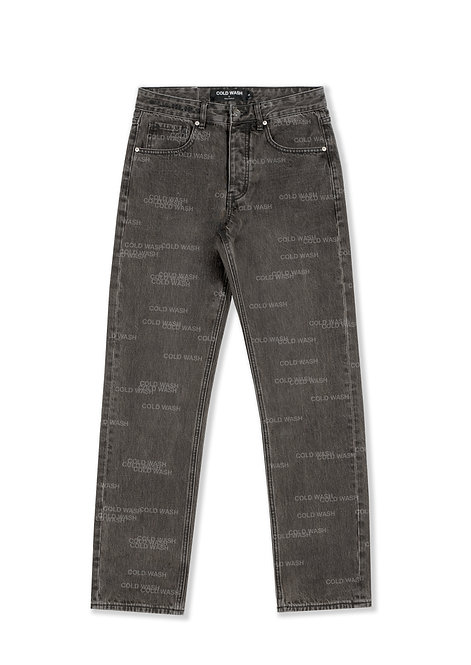 'Randomized Logo' Lasered Jeans - Grey