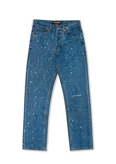 'Splatter' Lasered Jeans - Dark Blue