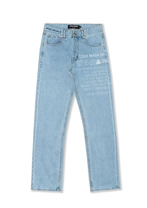 'Carelabel' Lasered Jeans - Light Blue