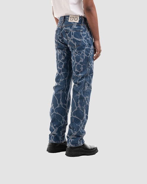 'WATER RIPPLE' LASERED JEANS BLUE 3.0