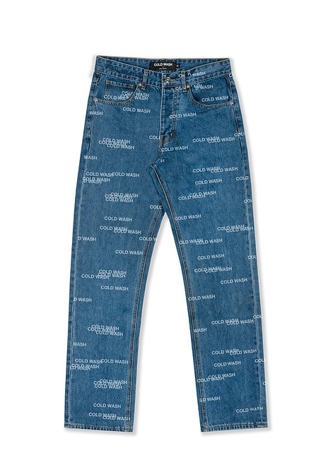 'Randomized Logo' Lasered Jeans - Dark Blue