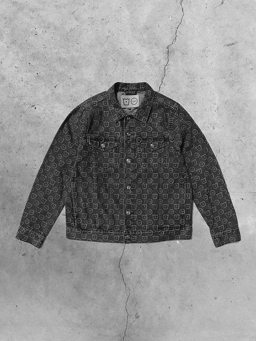 Monogram Lasered Denim Jacket - Grey