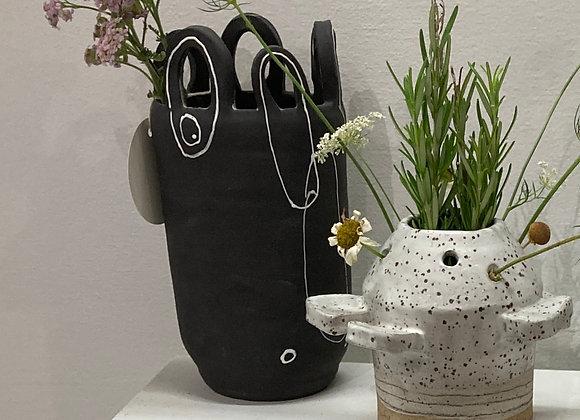 black florist loop vase