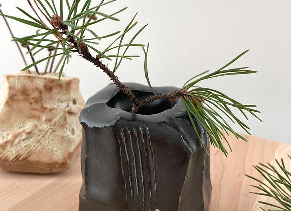 obsidian hand built rock bud vase