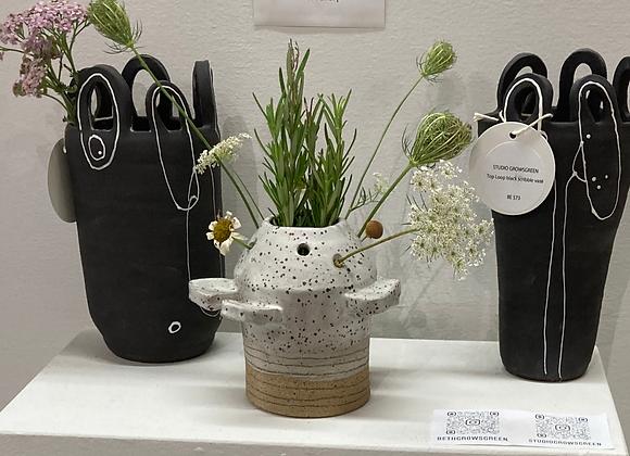 floral form flower frog vase
