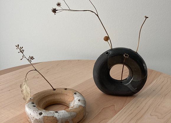 speckle brown loop incense vase