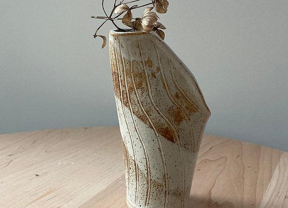 flock vase rusty white