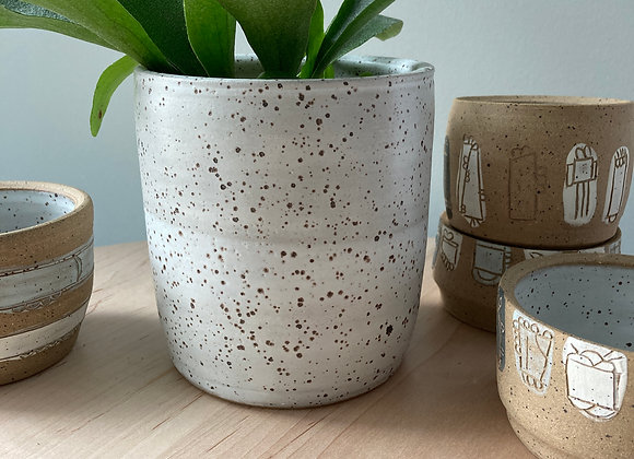 speckle white planter vase