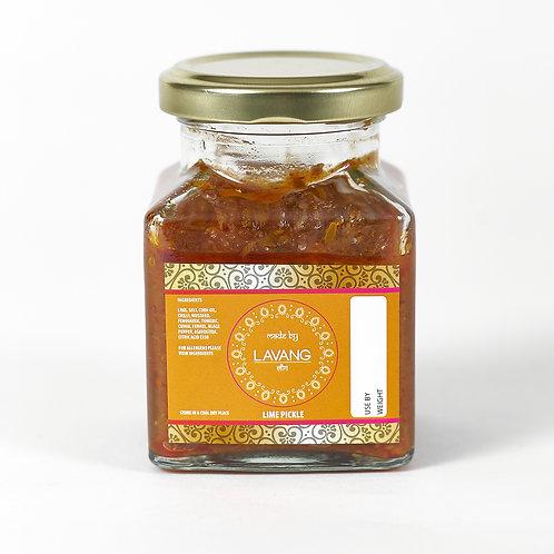 Front view branded orange label, glass jar, 200 grams, lime pickle