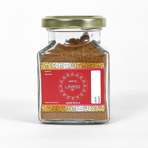 Front view, branded red label, glass jar, 200 grams, garam masala
