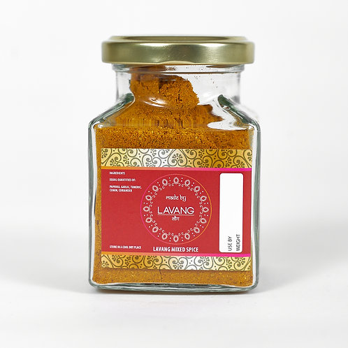 Front view, branded red label, glass jar, 200 grams, mixed spice