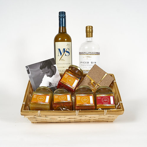 Front facing, Special Hamper includes: Chocolate Truffle Box, Cookbook,  Fratelli Chardonnay, Spiced Gin, Spices, Sauces