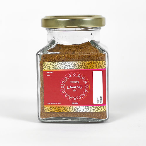 Front view, branded red label, glass jar, 200 grams, cumin powder