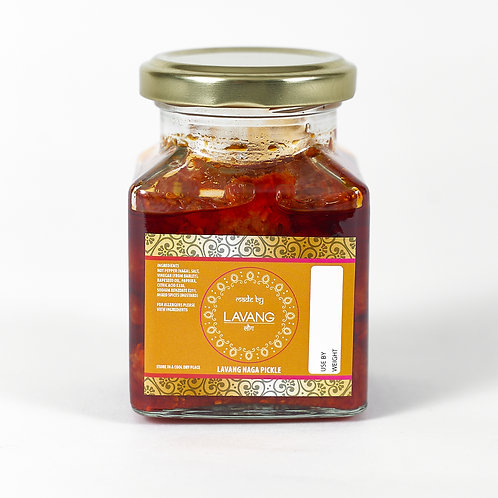 Front view branded orange label, glass jar, 200 grams, chilli naga pickle