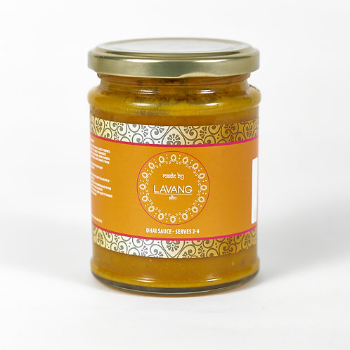 Front view branded orange label, glass jar, 300 grams, Dhai cooking sauce