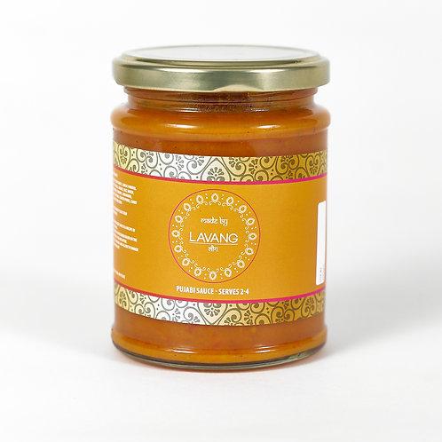 Front view branded orange label, glass jar, 300 grams, punjabi cooking sauce