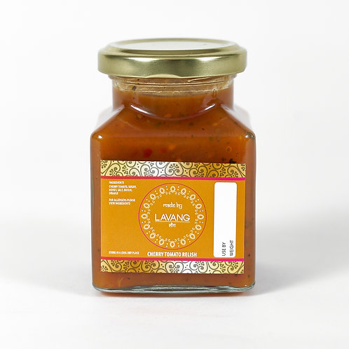 Front view branded orange label, glass jar, 200 grams, cherry tomato relish