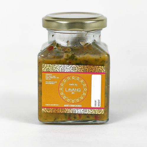 Front view branded orange label, glass jar, 200 grams, mint relish
