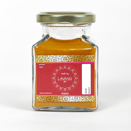 Front view, branded red label, glass jar, 200 grams, turmeric powder