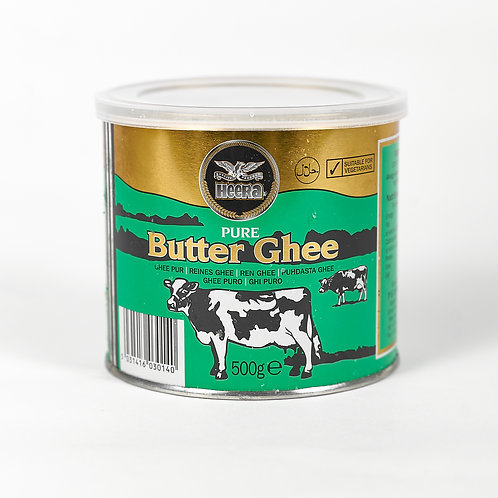 Front view, green branded metal tin, butter ghee, 500 grams