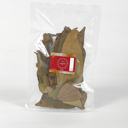 Front view, red branded label, bay leaf