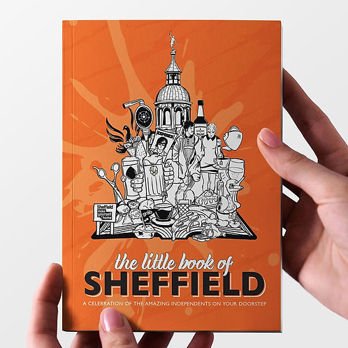 Front view, orange, guide to independent businesses, little book of Sheffield