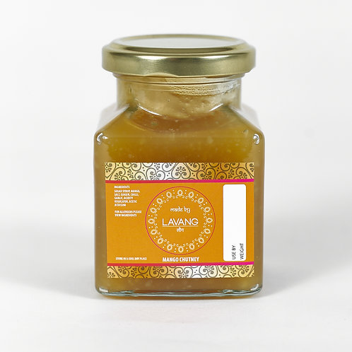 Front view branded orange label, glass jar, 200 grams, mango chutney