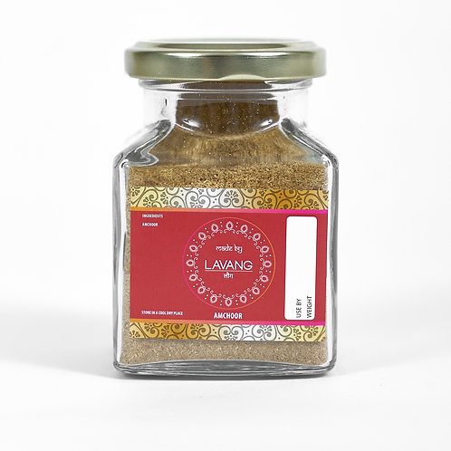 Front view, branded red label, glass jar, 200 grams, mango powder