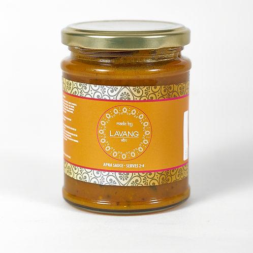 Front view branded orange label, glass jar, 300 grams, Apna cooking sauce