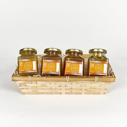 Front view, assortment of mixed pickles, branded label, glass jar, 200 grams