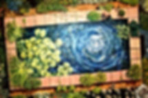 Garden Pond [a bird's-eye view]  (oils o