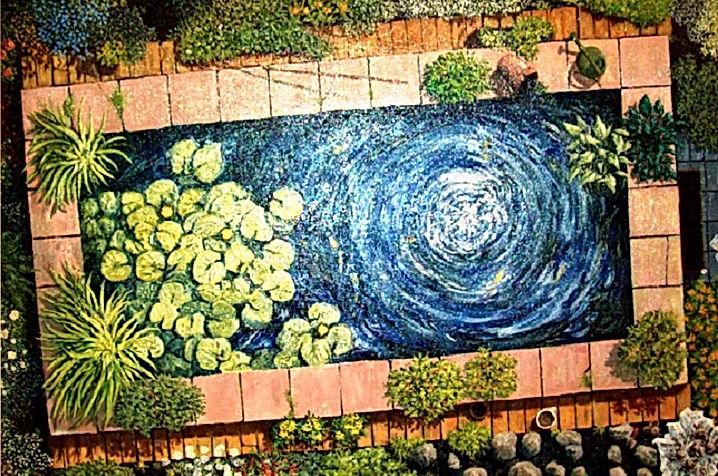 Garden Pond [a bird's-eye view]  (oils o