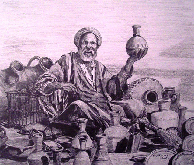 The Pottery Seller   (pencil) 8.5 x 10in