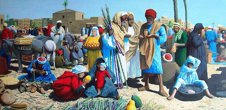 Market in Middle Egypt  (acrylic paint a
