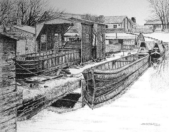 Snow at Castle Fields Dock  (pen)   9 x