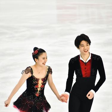 Utana Yoshida and Shingo Nishiyama performing their free dance at the 2020 Bavarian Open.