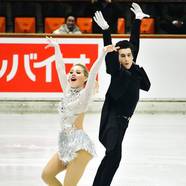 Emily Monaghan & Ilias Fourati performing their rhythm dance at the 2020 Bavarian Open.