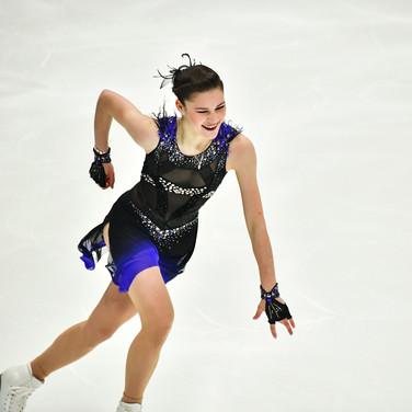 "Anastasiia Guliakova performing her free skating at the Rostelecom Cup 2020.  Анастасия Гулякова в произвольной программе на ИСУ Гран-при ""Кубок Ростелеком"" 2020."