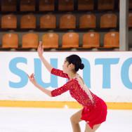 Haein Lee during the practice at the ISU Junior Grand Prix Riga Cup 2019.