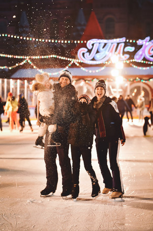 Model: the Zavoziny Family (Afina, Maxim, Nikon and Vilena) from Russia  Place: GUM Ice Rink, Moscow  December 2020