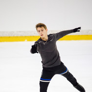 Aleksandr Selevko during the free  skating practice at the ISU Junior Grand Prix Riga Cup 2019.