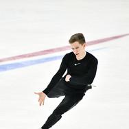 Andrei Mozalev during the free skating practice at Russian National Championships 2020.  Андрей Мозалёв на тренировке произвольной программы на Чемпионате России 2020.